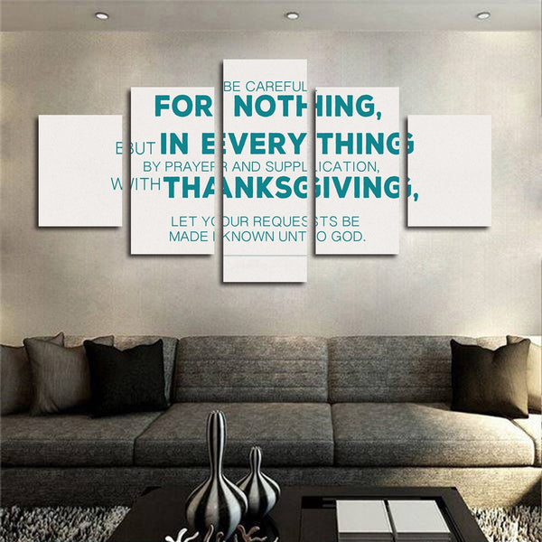 Philippians 4:8 'Be Careful for Nothing wall art canvas