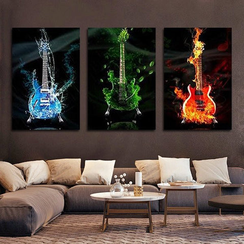3 Guitars Under Water U0026 On Fire Wall Art Decor Painting Print Poster Canvas