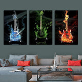 3 Guitars Under Water & on Fire Wall Art decor painting print poster Canvas