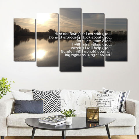 Christian Bible Verse Scripture Isaiah 41:10 Fear not for I am with you always Canvas Wall Art Decor