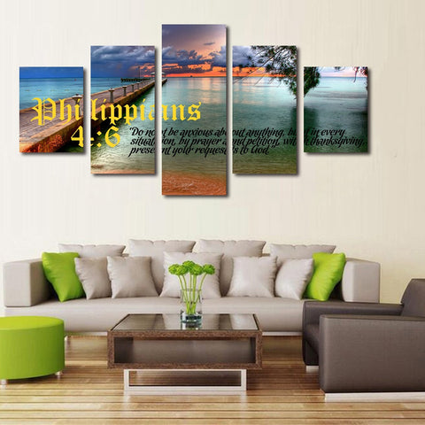 Philippians 4 6 7 christian bible verse scripture wall art canvas
