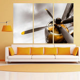 yellow airplane engine 4 cyclinder wall art canvas
