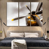 4 cylinder yellow engine airplane wall art canvas