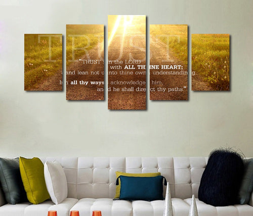 Proverbs 3:5 'Trust in the Lord with all your Heart' Bible Verse Scripture on Canvas
