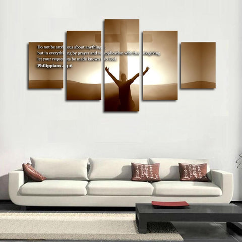Philippians 4:6 7 christian bible verse scripture wall art canvas