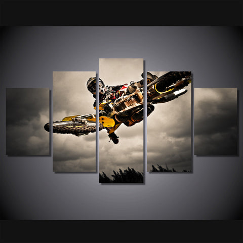 Supercross Motocross Dirt Bike doing air trick wall art canvas
