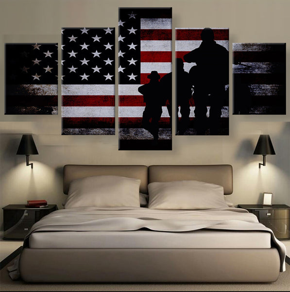 American Flag with Soldiers Multi Panel Canvas Wall Art u2013 Mighty Paintings & American Flag with Soldiers Multi Panel Canvas Wall Art u2013 Mighty ...