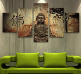 buddha on lotus base canvas wall art