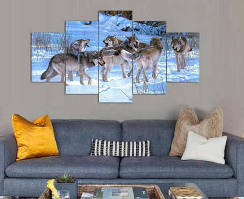 Pack of Wolves Wolf Multi Panel Canvas Wall Art