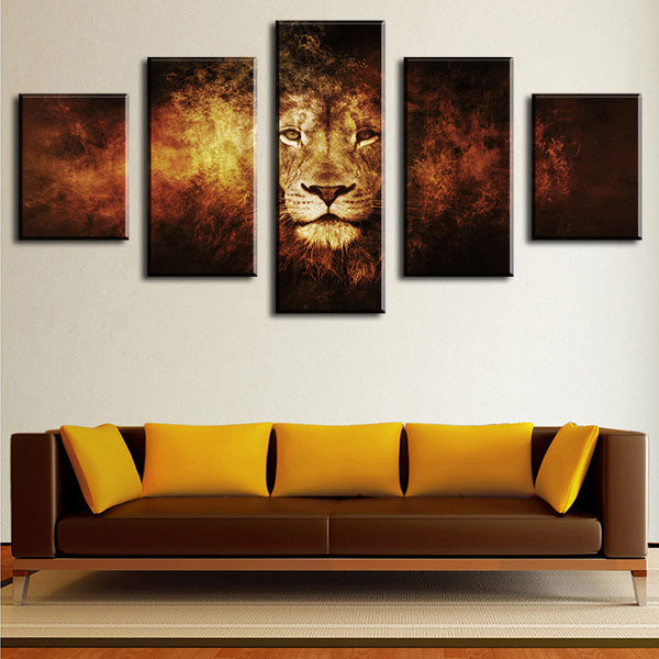 the lion multi panel wall art canvas mighty paintings. Black Bedroom Furniture Sets. Home Design Ideas