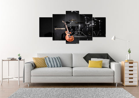 Acoustic Guitar with Drums Wall Art Multi Panel Canvas