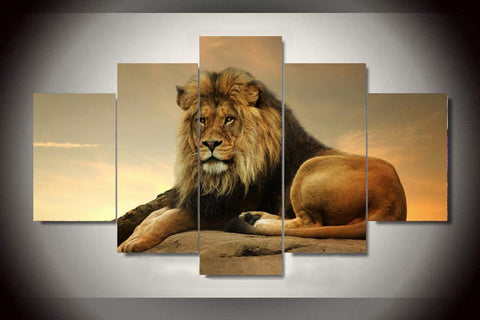lion at sunset wall art canvas