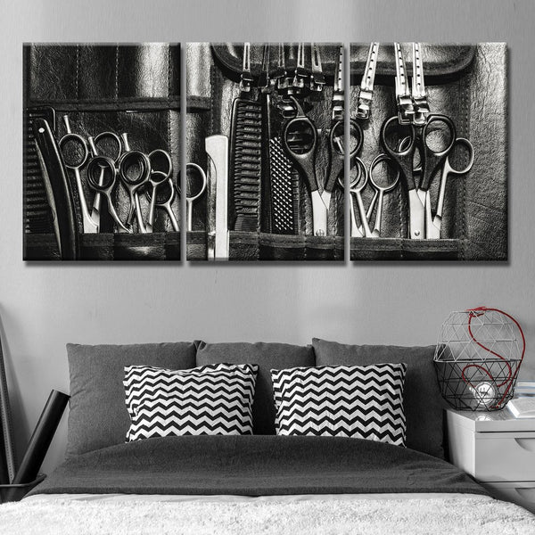 hairstylist tools and clippers multi panel canvas wall art mighty
