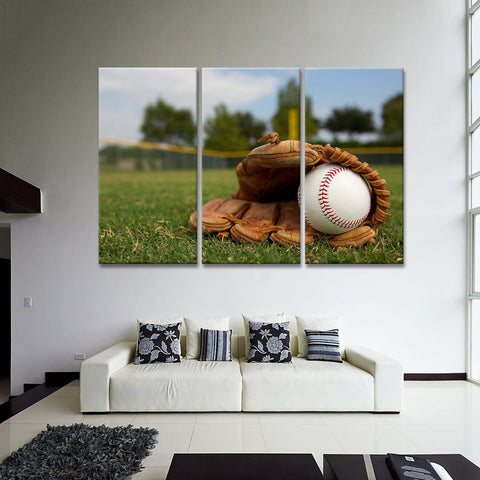 Ball In Baseball Glove Wall Art Print Poster Canvas