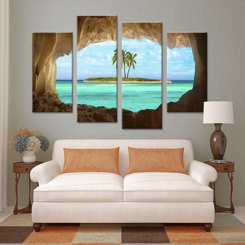 Hidden Beach Oasis Wall Art Decor Canvas Print Poster
