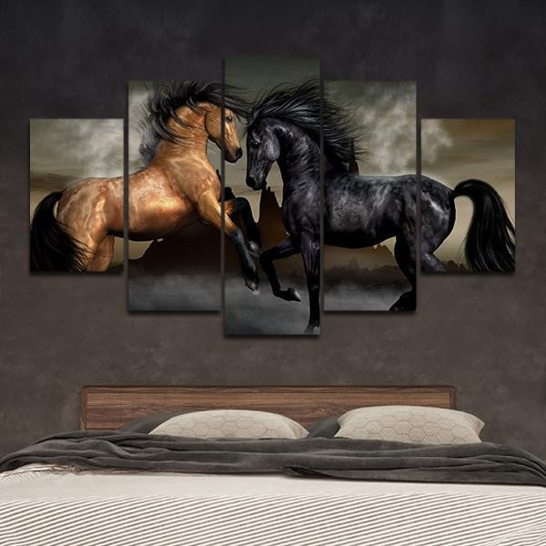 Black and Bay Horses Wall Art Decal Print Poster Decor Canvas