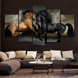 Black and Bay Horses Wall Art Decal Print Poster Decor Canvas 3