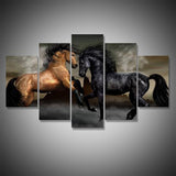 Black and Bay Horses Wall Art Decal Print Poster Decor Canvas 4