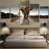 Brown African Elephant Wall Art Print Poster Decor Canvas