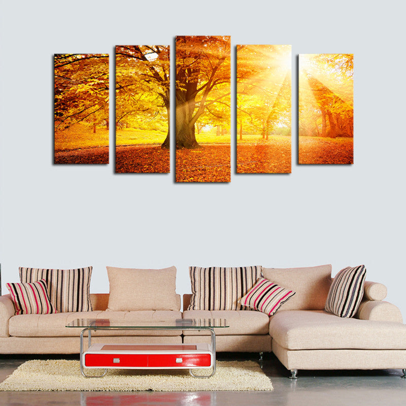 Sunset Sunrise in the Forest Multi Panel Wall Art Canvas