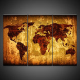 antique global map wall art canvas
