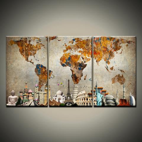 Colorful world map with monuments multi panel canvas wall art famous monuments on world map wall art canvas gumiabroncs Gallery
