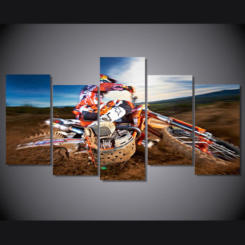 motocross racer sliding out wall art canvas decor