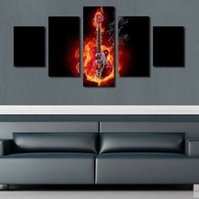 Electric Acoustic Guitar with Flames Wall Art Painting Print Poster Decor Canvas 3