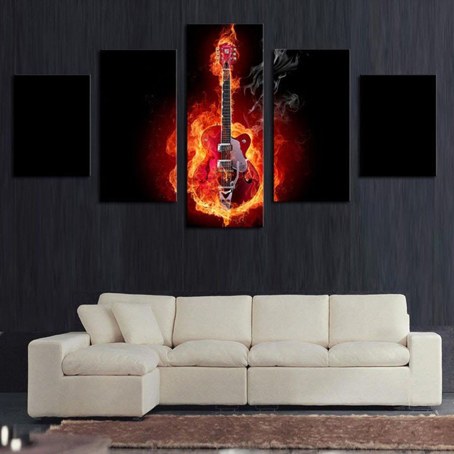 Electric Acoustic Guitar with Flames Wall Art Painting Print Poster Decor Canvas