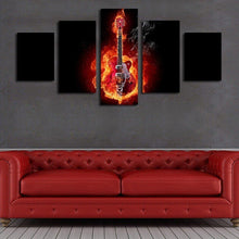 Electric Acoustic Guitar with Flames Wall Art Painting Print Poster Decor Canvas 2