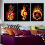 Electric Guitar Treble Cleff and Vinyl Record Wall Art Print Poster Painting Decor Canvas