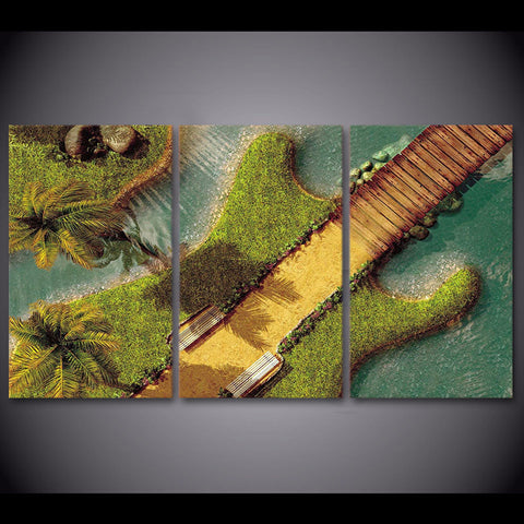 Electric Guitar as an Tropical Island Wall Art Multi Panel Canvas