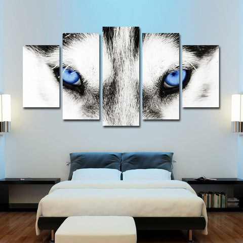 cold blue eyes of the gray wolf wall art canvas