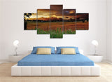 Sunset Sunrise on Farm Multi Panel Wall Art Canvas