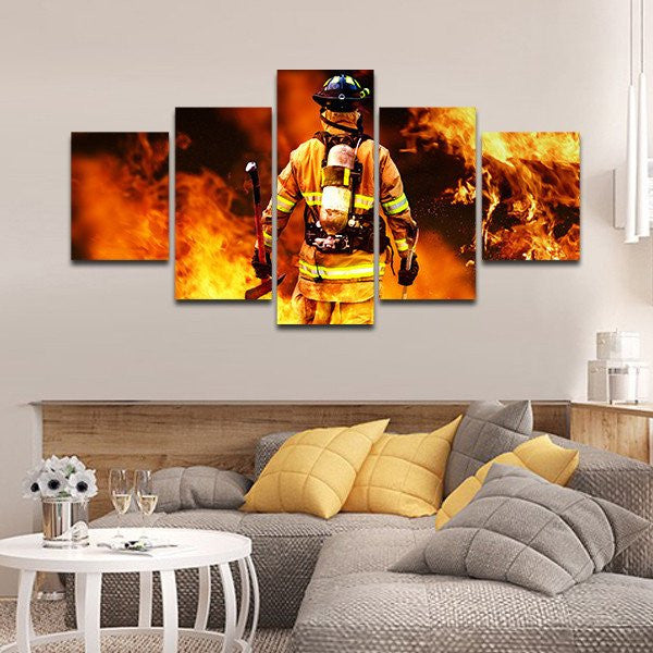 Fireman Fighting Fire iaff Multi Panel Wall Art Canvas