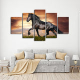 Black Stallion Mustang Horse Multi Panel Canvas Wall Art