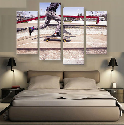 Grind Rail at Skate Park Wall Art Multi Panel Canvas print poster painting