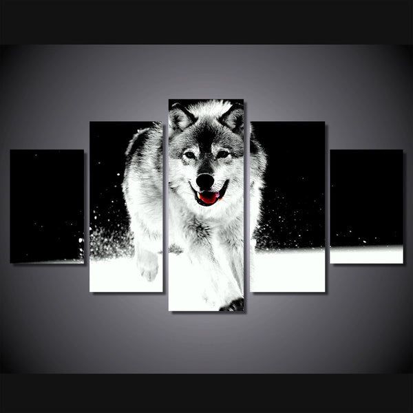 White Wolf Wolves Multi Panel Wall Art Canvas