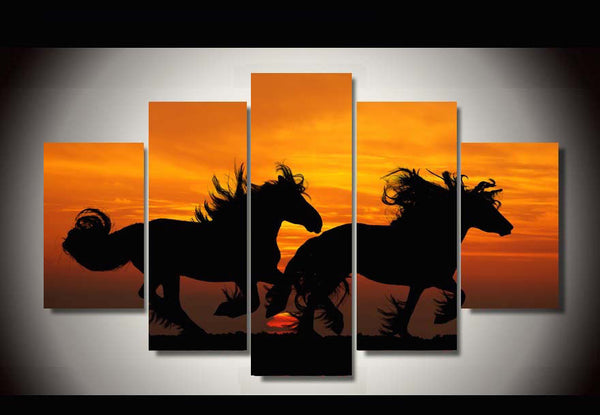Team Of Horses Silhouette Multi Panel Canvas Wall Art