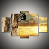 rock climbing sunset wall art canvas