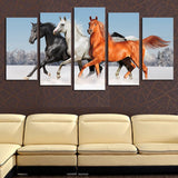 stallion horses in the winter snow wall art canvas