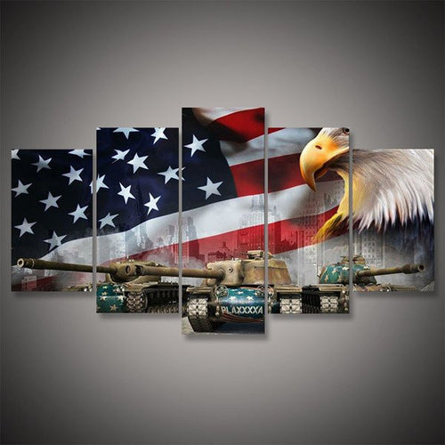 abrams main battle tank us flag wall art canvas