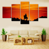 cowboy horseback riding wall art canvas