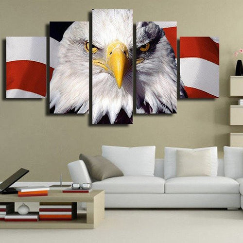 bald eagle us flag wall art canvas