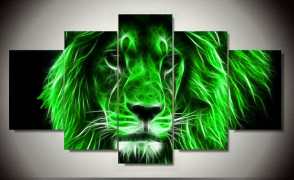 neon alpha male lion wall art canvas
