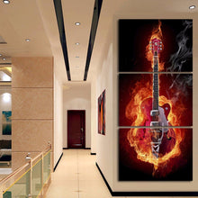 electric guitar on fire wall art canvas