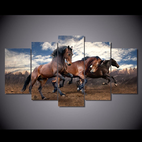 brown mustang stallion galloping wall art canvas