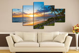 On the Boardwalk During Sunset Sunrise Multi Panel Canvas Wall Art
