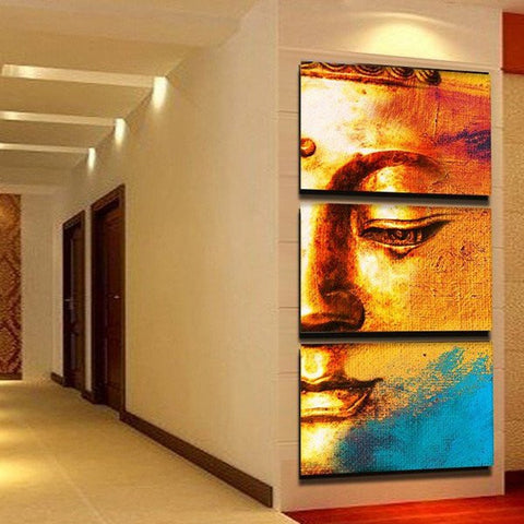 golden buddha resting wall art canvas