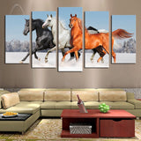 mustang horses in the winter snow wall art canvas